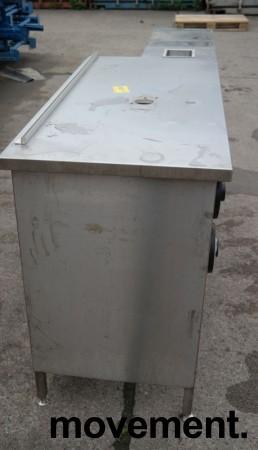 Arbeidsbenk med koppholdere / koppdispenser i rustfritt stål, 215x60cm, pent brukt bilde 4