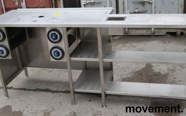 Arbeidsbenk med koppholdere / koppdispenser i rustfritt stål, 215x60cm, pent brukt bilde 6