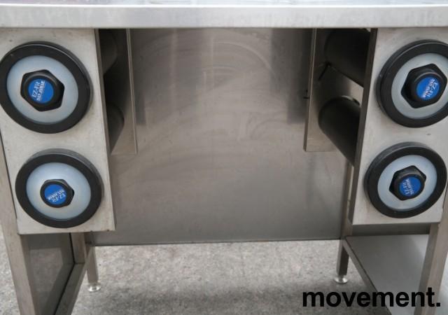 Arbeidsbenk med koppholdere / koppdispenser i rustfritt stål, 215x60cm, pent brukt bilde 3