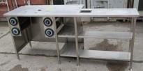 Arbeidsbenk med koppholdere / koppdispenser i rustfritt stål, 215x60cm, pent brukt
