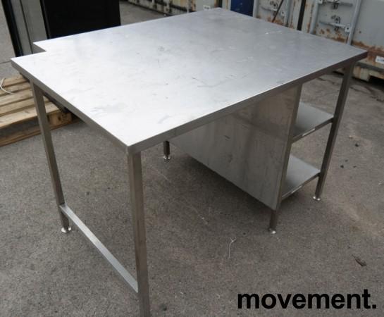 Arbeidsbenk i rustfritt stål, 130x100cm, reol under benk, pent brukt bilde 4