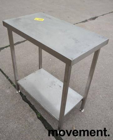 Liten arbeidsbenk i rustfritt stål, 80x45cm, pent brukt bilde 4