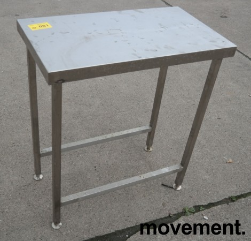 Liten arbeidsbenk i rustfritt stål, 80x45cm, pent brukt bilde 1