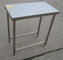 Liten arbeidsbenk i rustfritt stål, 80x45cm, pent brukt