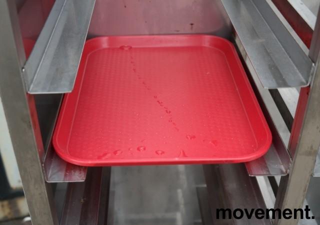 Brett-tralle på hjul i rustfritt stål for 24 brett, pent brukt bilde 4