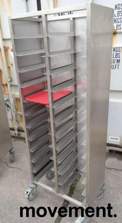 Brett-tralle på hjul i rustfritt stål for 24 brett, pent brukt bilde 2