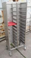 Brett-tralle på hjul i rustfritt stål for 24 brett, pent brukt