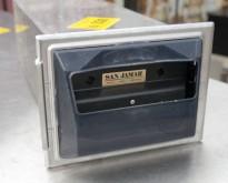Serviettdispenser fra San Jamar i rustfritt stål, for nedfelling i benkeplate / serveringsdisk, pent brukt