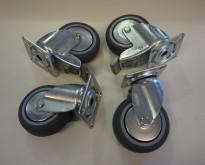 4stk hjul for montering på skap e.l., 2 med sving 2 med sving og lås, pent brukt