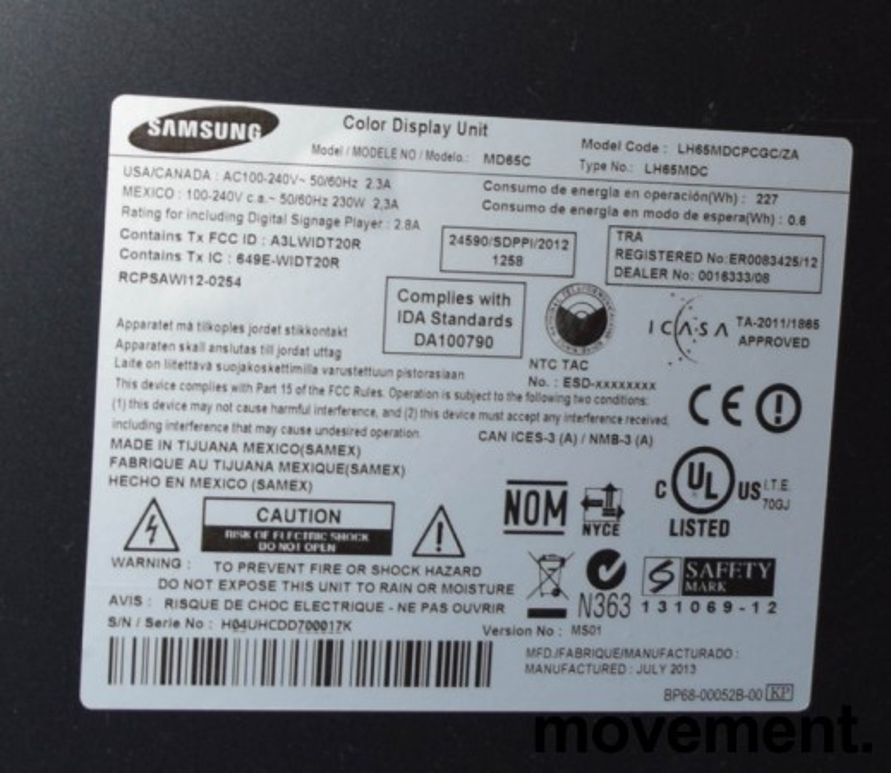 Samsung MD65C, 65toms Public Display-skjerm, d-LED Blu, FULL HD, pent brukt bilde 3