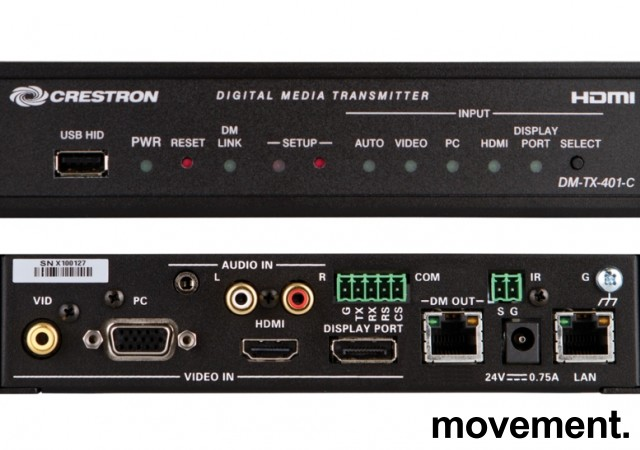 Crestron DM-TX-401-C Digital Media Transmitter HDMI/DP, pent brukt bilde 4