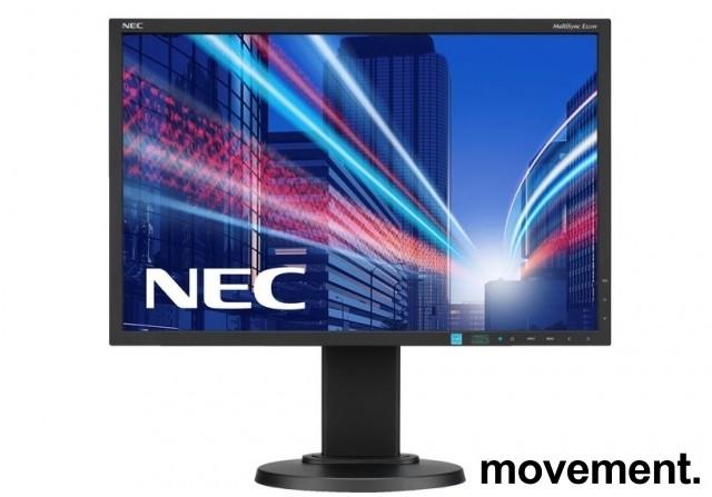 Flatskjerm til PC: NEC E223W, 22toms, 1680x1050, VGA/DVI/DP, pent brukt