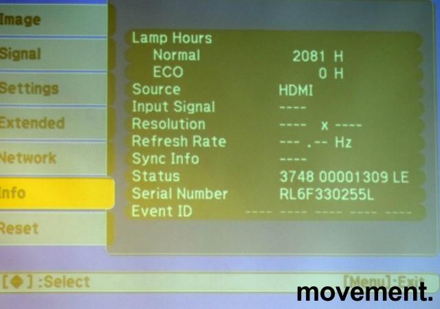 Widescreen-projector, Epson EB-1940W, 1280x800, HDMI, 4200lumen, pent brukt - 2081 timer på pære bilde 3