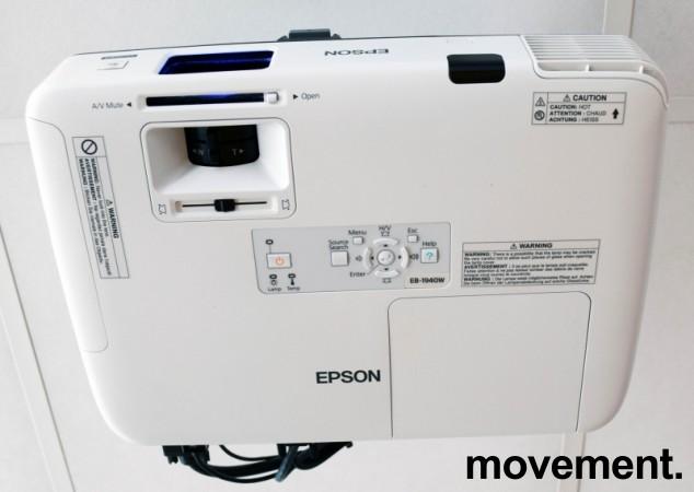 Widescreen-projector, Epson EB-1940W, 1280x800, HDMI, 4200lumen, pent brukt - 2081 timer på pære bilde 2