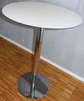 Rundt barbord / ståbord i hvitt / svart kant / krom base, Ø=79cm, høyde 106cm, pent brukt