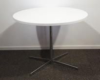 Lite møtebord / avlastningsbord, hvitt / krom, Ø=90cm, pent brukt
