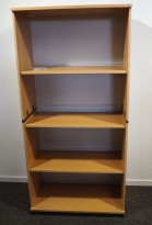 Kinnarps ringpermreol / åpen bokhylle i bøk, 4permhøyder, 164cm h, pent brukt