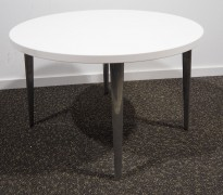 Loungebord i hvit / polert aluminium, Ø=70cm, høyde 44,5 cm, pent brukt understell med ny plate