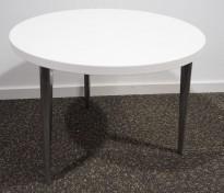 Loungebord i hvit / polert aluminium, Ø=60cm, høyde 44,5 cm, pent brukt understell med ny plate