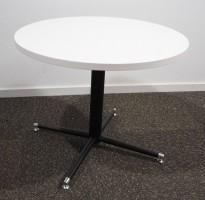 Loungebord i hvit / sort, Ø=70cm, høyde 56cm, pent brukt understell med ny plate