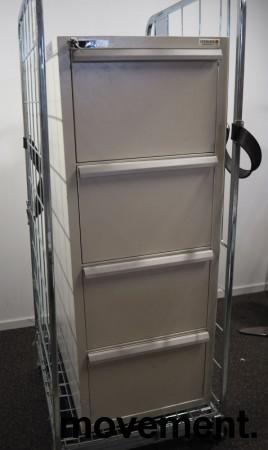 Fossafe 4 skuffers brannskap / brannsikkert arkivskap, 138cm høyde, 120min, grått, pent brukt bilde 1