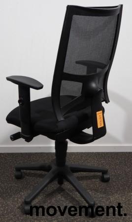 Kontorstol fra Sitland - Team Air i sort, høy rygg og armlener, pent brukt bilde 2