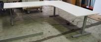 Hjørneløsning elektrisk hevsenk fra Linak i hvitt / grått, 240x220cm, NY PLATE / pent brukt understell