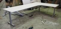 Hjørneløsning elektrisk hevsenk fra Linak i hvitt / grått, 280x180cm, NY PLATE / pent brukt understell