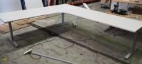 Hjørneløsning elektrisk hevsenk fra Linak i hvitt / grått, 240x280cm, NY PLATE / pent brukt understell