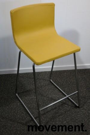 IKEA Bernhard barstol i gult skinn / krom, sittehøtde 67cm, pent brukt bilde 1