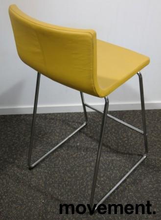 IKEA Bernhard barstol i gult skinn / krom, sittehøtde 67cm, pent brukt bilde 2