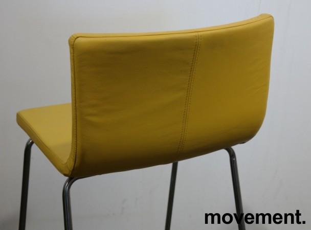 IKEA Bernhard barstol i gult skinn / krom, sittehøtde 67cm, pent brukt bilde 3