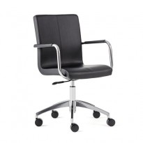 Konferansestol på hjul i sort kunstskinn / krom, Delta fra AJ Produkter, ny B-vare