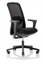 HÅG Sofi 7500 kontorstol i sort stoff, mesh rygg, armlene, høy rygg, sort kryss,pent brukt
