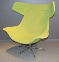 Loungestol fra Offecct, modell Oyster High, Grønn remix/krom base, design: Michael Sodeau, pent brukt