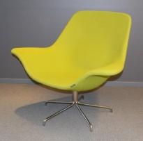 Loungestol fra Offecct, modell Oyster Low, Grønn ullfilt / krom base, design: Michael Sodeau, pent brukt