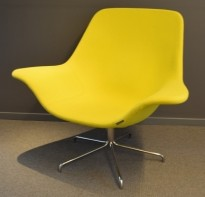 Loungestol fra Offecct, modell Oyster Low, Grønngul ullfilt / krom base, design: Michael Sodeau, pent brukt