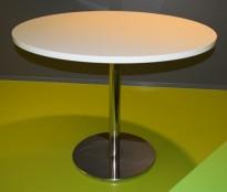 Stort, rundt ståbord i hvitt / krom base, Brødrene Andersen, Ø=120cm, høyde 94cm, pent brukt