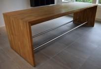 Stort ståbord / barbord i heltre eik, 300x100cm, 90cm høyde, pent brukt
