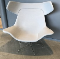 Loungestol fra Offecct, modell Oyster High, Grått stoff/krom base, design: Michael Sodeau, pent brukt
