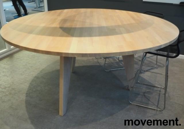 Høyt (88cm), rundt møtebord / mingelbord / barbord i hvitpigmentert eik, Ø=180cm, pent brukt bilde 2
