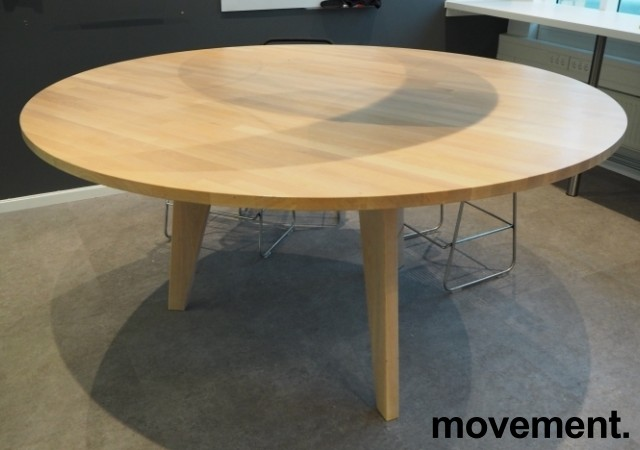 Høyt (88cm), rundt møtebord / mingelbord / barbord i hvitpigmentert eik, Ø=180cm, pent brukt bilde 1