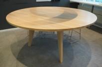 Høyt (88cm), rundt møtebord / mingelbord / barbord i hvitpigmentert eik, Ø=180cm, pent brukt