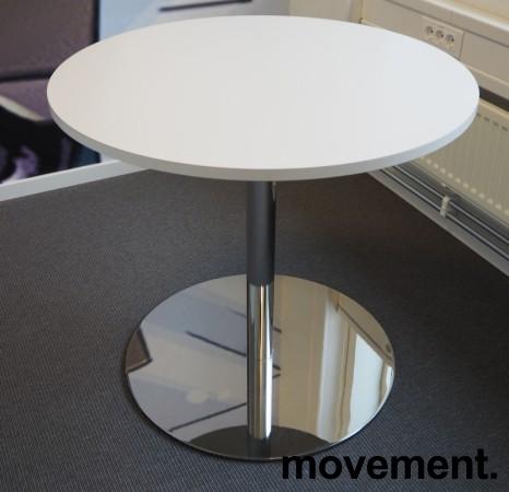 Rundt loungebord / sidebord i hvitt / krom fra Martela, Ø=80cm, H=73cm, pent brukt