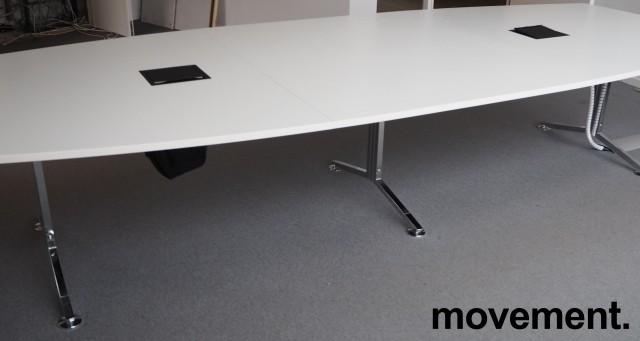 Møtebord / konferansebord i hvitt / krom, 360x140cm, passer 12-14personer, pent brukt bilde 2