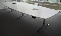 Møtebord / konferansebord i hvitt / krom, 360x140cm, passer 12-14personer, pent brukt