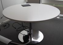 Rundt møtebord / konferansebord / kantinebord i hvitt / krom, Ø=120cm, kabelboks i plate, pent brukt