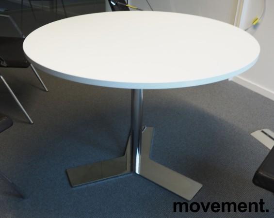 Lekkert, rundt møtebord i hvitt / krom fra Dencon, Ø=100cm, H=73cm, pent brukt bilde 1