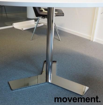 Lekkert, rundt møtebord i hvitt / krom fra Dencon, Ø=100cm, H=73cm, pent brukt bilde 2
