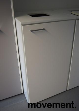 Miljøstasjon / sorteringsstasjon for kontoravfall i hvitt fra Trece, 60cm bredde, pent brukt bilde 1
